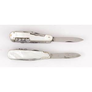 Lot of Two Multi-Blade Mother of Pearl German Knives from the Estate of Art Gerber, Tell City, Indiana