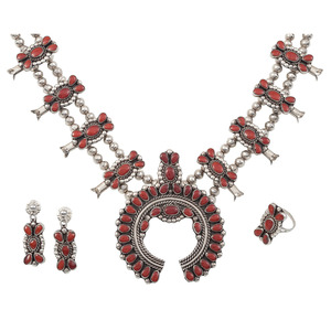 Paul and Nancy Leekity (Zuni, 20th century) Silver and Coral Cluster Squash Blossom, Earrings, and Ring Set