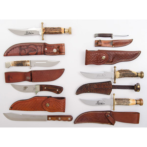 8 Case XX Fixed Blade Sheath Knives from the Estate of Art Gerber, Tell City, Indiana