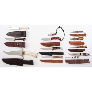 10 Fixed Blade Sheath Knives from the Estate of Art Gerber, Tell City, Indiana