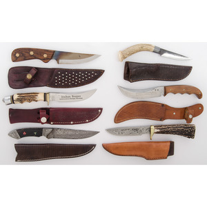 6 Fixed Blade Sheath Knives from the Estate of Art Gerber, Tell City, Indiana