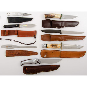 7 Fixed Blade Sheath Knives from the Estate of Art Gerber, Tell City, Indiana