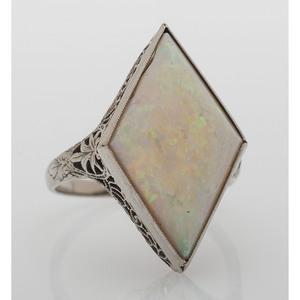 18 Karat White Gold Synthetic Opal Ring