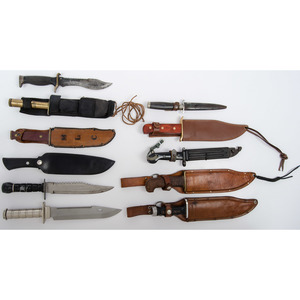 Lot of Assorted Ka Bar Knifes with Saw Backs from the Estate of Art Gerber, Tell City, Indiana