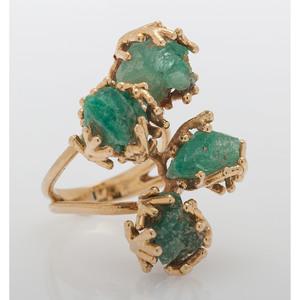 18 Karat Yellow Gold Synthetic Emerald Ring