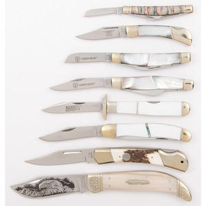 Case of Mother of Pearl Pocket Knives from the Estate of Art Gerber, Tell City, Indiana