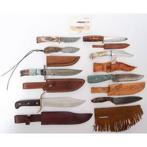Assorted Knives with Wood and Marble Grips from the Estate of Art Gerber, Tell City, Indiana