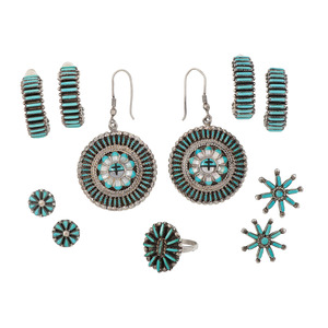 A Collection of Zuni Needle Point Earrings AND Ring