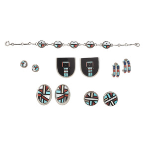 Zuni and Navajo Mosaic Inlay Earrings and Bracelet