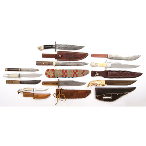 Assorted Stag and Fixed Blade Knifes from the Estate of Art Gerber, Tell City, Indiana