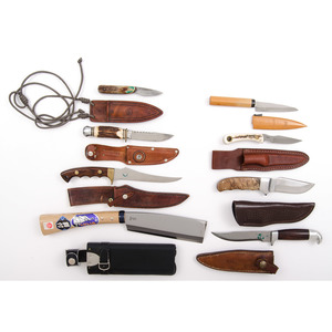 Assorted Fixed Blade Stag Sheath Knives from the Estate of Art Gerber, Tell City, Indiana