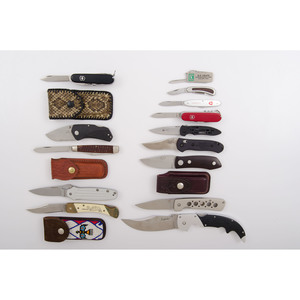 Assorted Pocket Knives and Cases from the Estate of Art Gerber, Tell City, Indiana