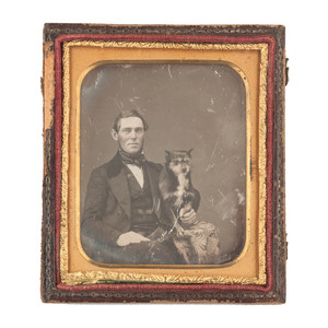 Sixth Plate Daguerrotype of Man and his Dog