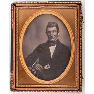 Quarter Plate Daguerreotype Portrait of a Distinguished Gentleman with Flowers