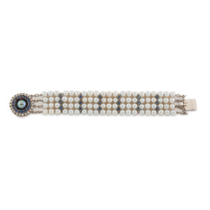 14 Karat White Gold Pearl and Sapphire Bracelet