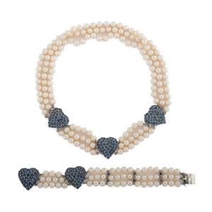 14 Karat White Gold Necklace and Bracelet