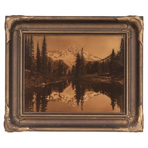 James Bert Barton, Mt. Rainier Orotone, Mirror Lake on Mt. Rainier