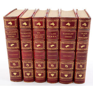 [Sporting Books - Illustrated - Fine Binding] Group of 6 by Surtees with Hand Colored Illustrations by Leech, in Red Half-Leather Matching Bindings