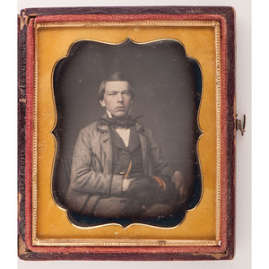 Daguerreotype Portrait of a Young Man with a Dog