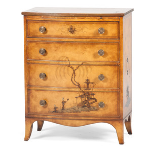 Bow Front Chinoiserie Chest of Drawers