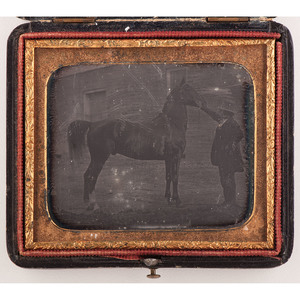 Sixth Plate Daguerreotype of a Man with a Horse