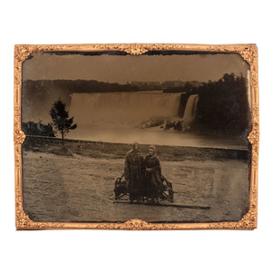 Full Plate Ambrotype of Couple at Niagara Falls