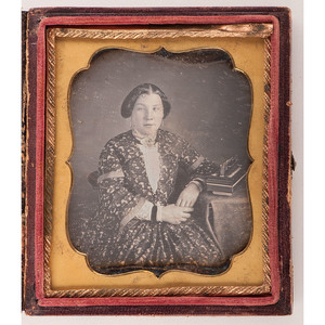 Sixth Plate Daguerreotype Portrait of a Woman with Concertina