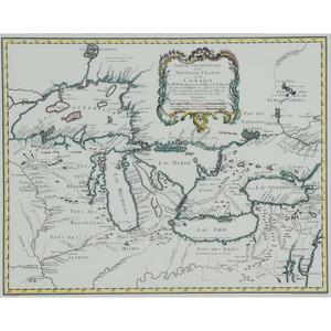 Partie Occidentale de la Nouvelle France ou du Canada, Hand Colored Print