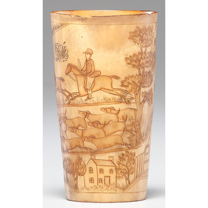 An Extremely Fine Horn Cup with Engraved Hunt Scene