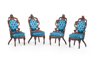 Exceptional John Henry Belter Parlor Suite with Political and Literary Portrait Busts