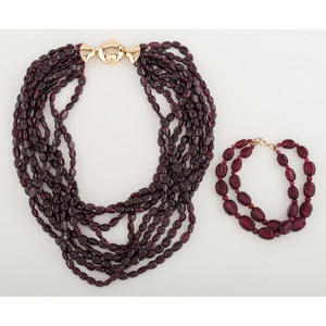 Garnet Torsade Necklace with 14 Karat Yellow Gold Clasp PLUS