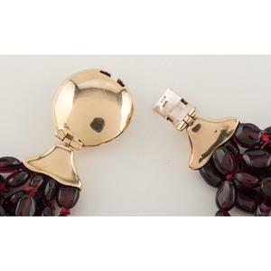 Garnet Torsade Necklace with 14 Karat Yellow Gold Clasp PLUS