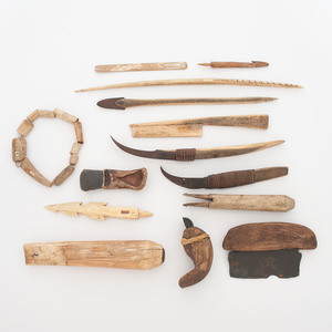 Collection of Inuit Bone and Walrus Ivory Tools