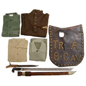 Lot of Four Khaki Shirts and Sweater, Leather Saddle Accesory and Two Edged Weapons