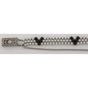 Art Deco Seed Pearl Bracelet With Diamond Clasp in Platinum