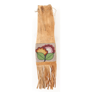 Anishinaabe Beaded Hide Tobacco Bag