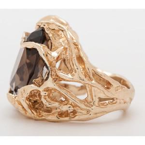 Vintage 14 Karat Yellow Gold Smoky Quartz Ring