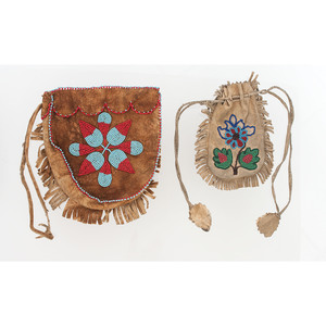 Cree Beaded Hide Pouch PLUS Plains Beaded Hide Drawstring Pouch