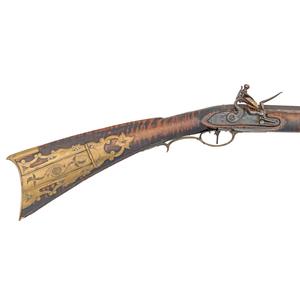 Raised Carved Kentucky Flintlock Fullstock Rifle By John Shuler