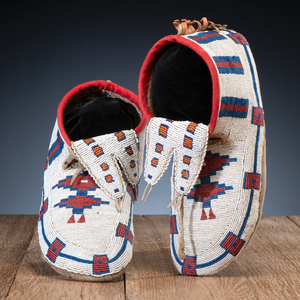 Cree / Blackfeet Beaded Hide Soft-Soled Moccasins, From the Collection of Charles and Valerie Diker