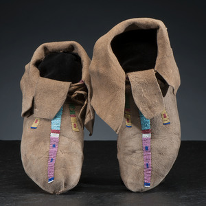 Crow Beaded Hide Moccasins, Belonging to Chief Plenty Coups (1848-1932)