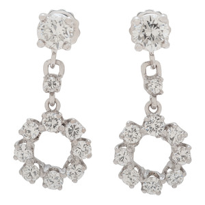 14 Karat White Gold Diamond Dangle Earrings