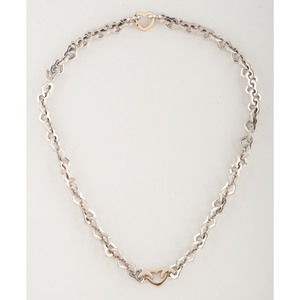 Tiffany & Co. Sterling Silver and 18 Karat Gold Heart Link Necklace