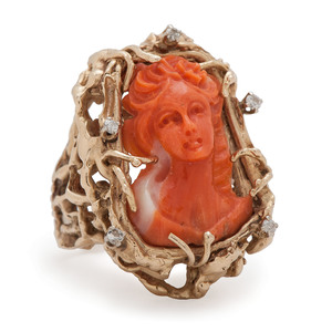 14 Karat Yellow Gold Coral Cameo and Diamond Ring