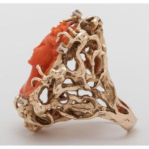 14 Karat Yellow Gold Coral Cameo and Diamond Ring