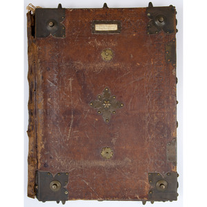 [Book Binding - Leather Portfolio] 18th Century Book Cover With Heavy Brass Corners and Bosses