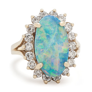 Boulder Opal 14 Karat Yellow Gold Ring