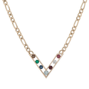 Multi Stone 14 Karat Yellow Gold Necklace