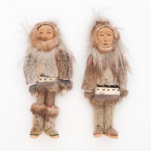 Alaskan Eskimo Wood Carved Dolls