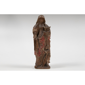 Continental Polychrome Wooden Saint Statue